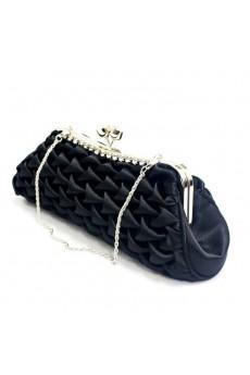 Satin Black Handbag/Clutche with Rhinestone