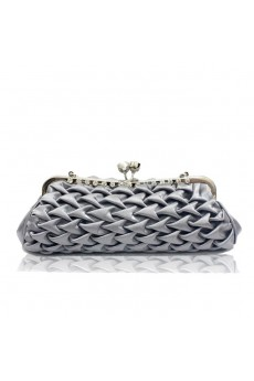 Satin Gray Handbag/Clutche with Rhinestone