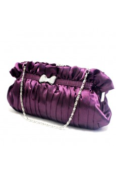 Satin Purple Evening Rhinestone Bowknot Handbag