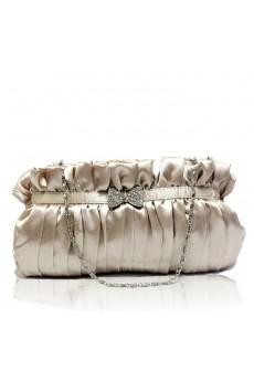 Satin Silver Evening Rhinestone Bowknot Handbag