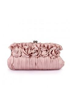 Satin Handbag with Rose and Rhinestone