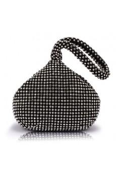 Satin with Rhinestone Peach Shape Handbag/Clutche