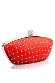 Velvet Red Boat Handbag with Rhinestone