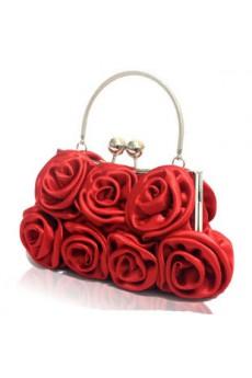 Satin Handmade Rose Handbag