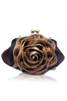 Satin Coffe Evening Handmade Flower Bridesmaids Handbag