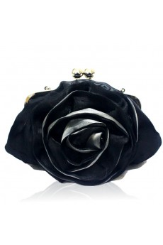 Satin Evening Handmade Flower Bridesmaids Black Handbag