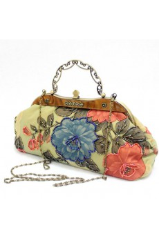 Velvet Embroidery Peony Handbag/Clutche