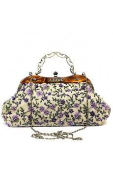 Linen Embroidery Bead Handbag/Clutche