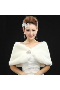 Faux Fur Wedding Wrap With Lace Rhinestone