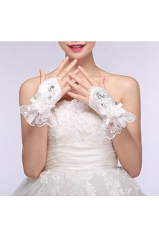 Fingerless Wrist Length Bridal Gloves