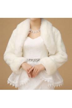 Fashion Long Sleeve Faux Fur Bridal Wedding / Casual Shawl