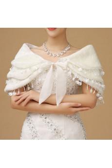 Three Tier Lace Faux Fur Bridal Wedding/Evening Wrap/Shawl