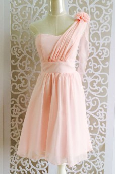 Chiffon One-shoulder Corset Dress with Handmade Flower