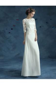 Lace, Tulle Jewel Floor Length Half Sleeve Sheath Dress with Embroidered, Rhinestone