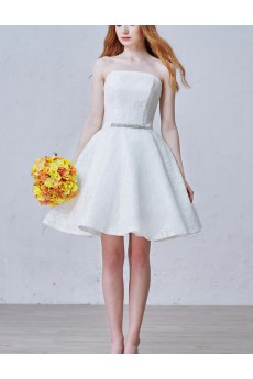 Lace, Tulle Strapless Mini/Short Sleeveless Ball Gown Dress with Rhinestone, Sash