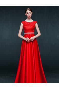 Satin, Lace Jewel Floor Length Cap Sleeve A-line Dress with Rhinestone, Sash