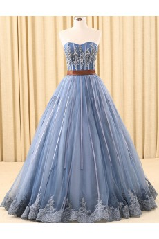 Tulle Sweetheart Floor Length Sleeveless Ball Gown Dress with Rhinestone, Sash