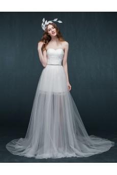Lace, Tulle, Satin Sweetheart Sweep Train Sleeveless Sheath Dress with Rhinestone