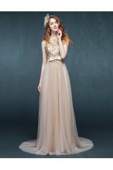 Lace Jewel Sweep Train Sleeveless Sheath Dress with Sequins, Bow