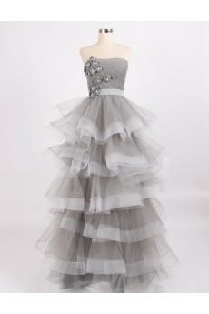 Tulle, Satin Strapless Floor Length Sleeveless Ball Gown Dress with Handmade Flowers, Rhinestone
