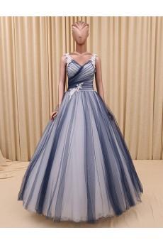 Tulle, Satin V-neck Floor Length Sleeveless Ball Gown Dress with Beads