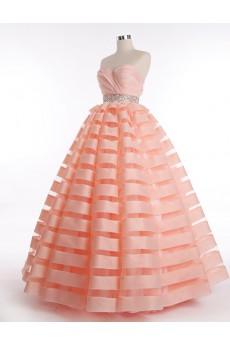 Tulle, Satin Sweetheart Floor Length Sleeveless Ball Gown Dress with Rhinestone