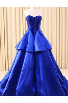 Satin Sweetheart Chapel Train Sleeveless Ball Gown Dress with Beads