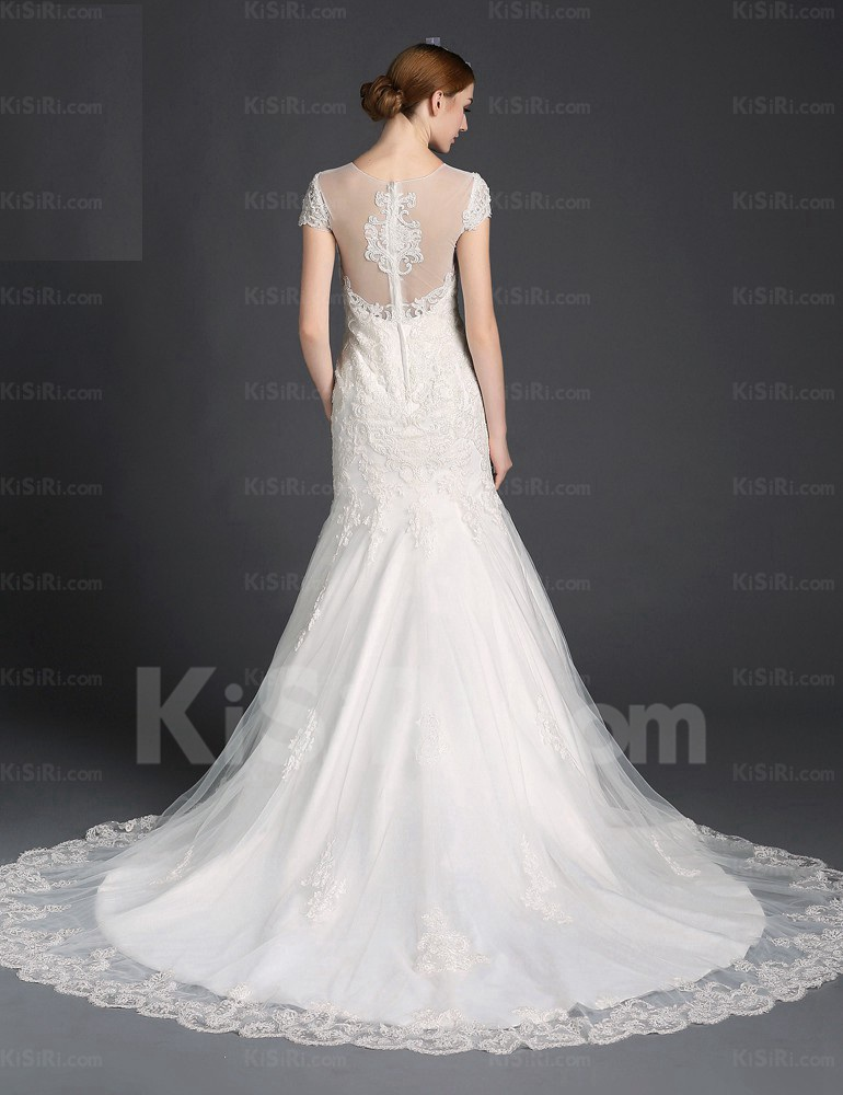 Mermaid Wedding Dress With Cathedral Train : Wedding dresses gt tulle lace jewel cathedral train cap sleeve mermaid
