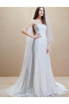 Lace, Satin Strapless Chapel Train Sleeveless Sheath Dress with Beads