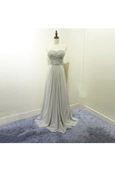 Chiffon Sweep Train Sweetheart Sleeveless A-line Dress with Rhinestone