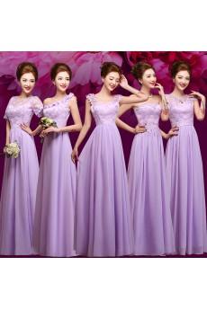 Chiffon, Lace Floor Length A-line Dress