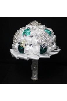 Elegant Handmade Round Shape Satin Wedding Bridal Bouquet