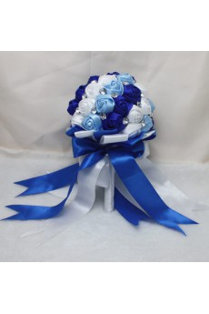 Fashion Round Shape Blue and White and Sky Blue Fabric Wedding Bridal Bouquet with Rhinestone