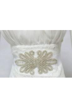 HandmadeLace Rhinestone Wedding Sash with Beads