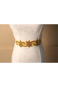 Handmade Gold Rhinestone Wedding Sash