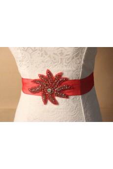Handmade Red Yarn Rhinestone Wedding Sash