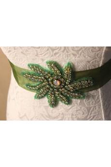 Handmade Green Yarn Rhinestone Wedding Sash