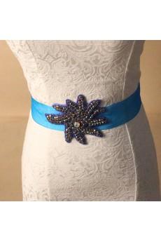 Handmade Blue Yarn Rhinestone Wedding Sash