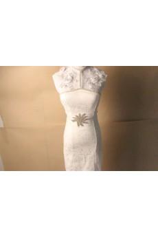 Handmade White Yarn Rhinestone Wedding Sash
