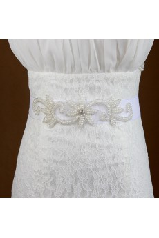 Handmade Yarn Rhinestone Wedding Sash with Beads