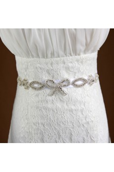 Handmade Yarn Rhinestone Bow Wedding Sash