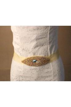 Handmade Yellow Rhinestone Wedding Sash