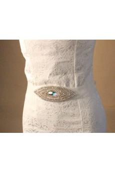 Handmade White Rhinestone Wedding Sash