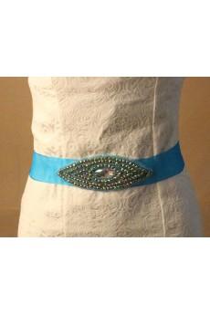 Handmade Azure Rhinestone Wedding Sash