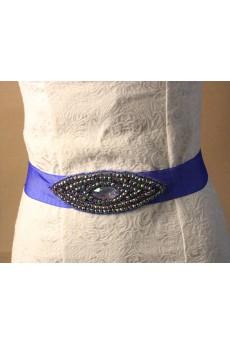 Handmade Navy Rhinestone Wedding Sash