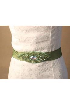 Handmade Green Rhinestone Wedding Sash