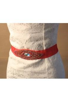 Handmade Red Rhinestone Wedding Sash