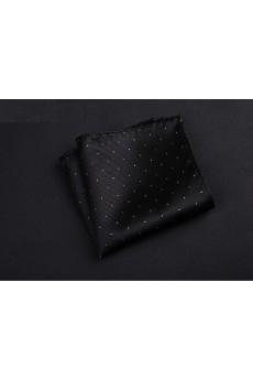 Black Cotton-Microfiber Blended Pocket Square