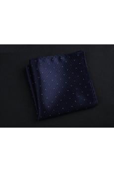 Blue Cotton-Microfiber Blended Pocket Square