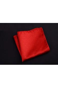 Red Cotton-Microfiber Blended Pocket Square